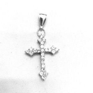 Stunning Sterling Silver Diamond Cross Pendant